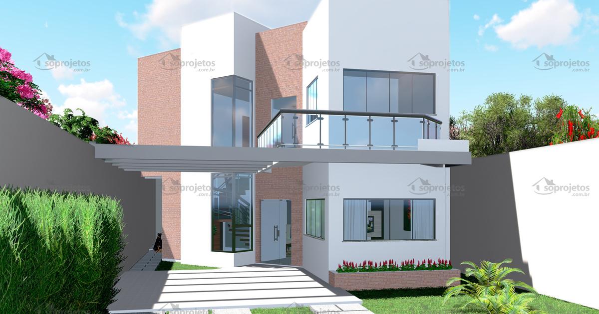 Sobrado moderno com pergolado c d 106 s projetos for Casa moderna revit