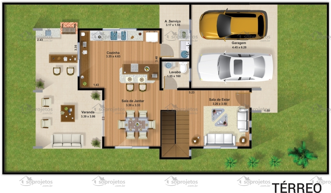 Excepcional Planta de casa duplex 3 suítes com varanda gourmet | Só Projetos SK79