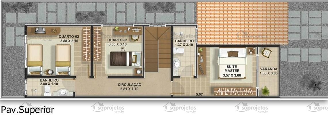 Extremamente Planta de casa geminada com três quartos - Cód. 95 Pág. 28| Só  MB18