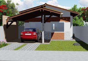 Projeto de Casa Popular com 2 quartos