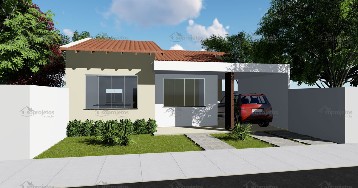 Planta de casa t rrea com 2 quartos sendo 1 su te s for Casa moderna 4 ambientes