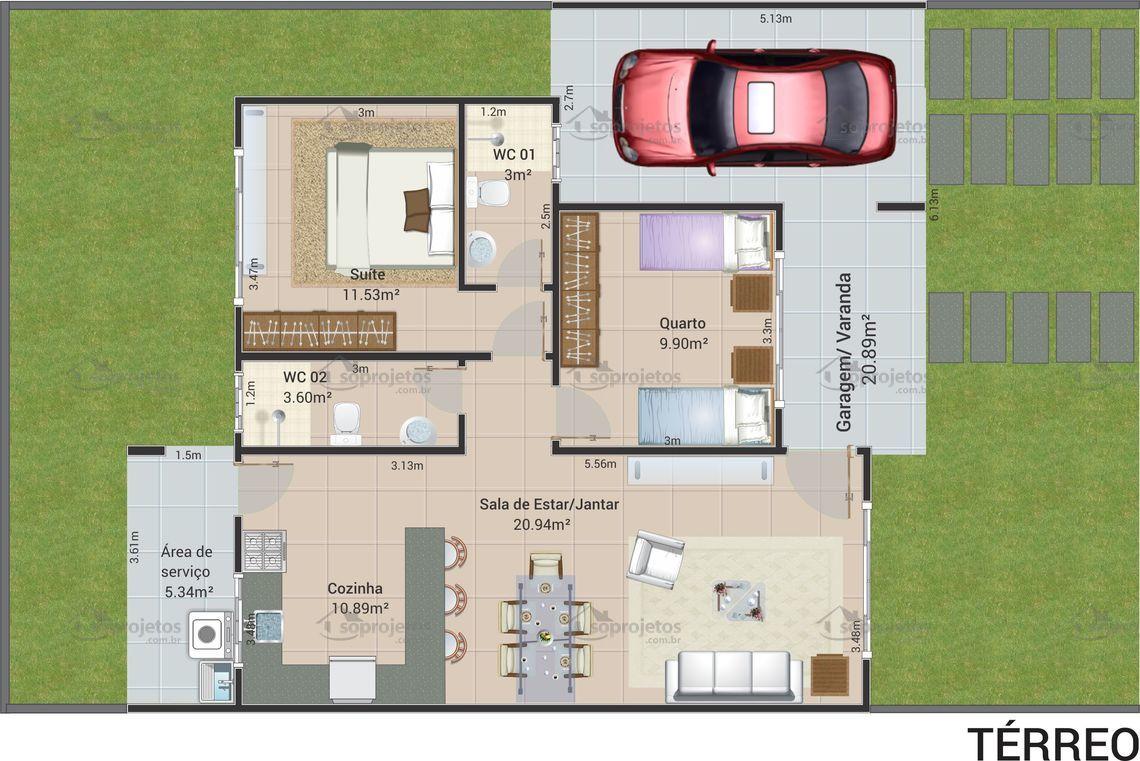 Preferência Planta de casa térrea com 2 quartos sendo 1 suíte    Só Projetos SD09
