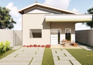 Planta de casa térrea com 2 quartos e varanda gourmet
