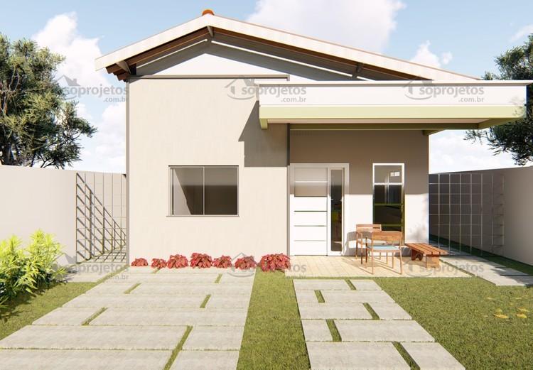 Fabuloso Planta de casa térrea com 2 quartos e varanda gour | Só Projetos ZP96