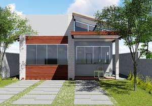 Planta de casa térrea com 2 quartos e piscina