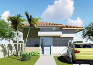Planta de casa térrea com 2 quartos e solárium