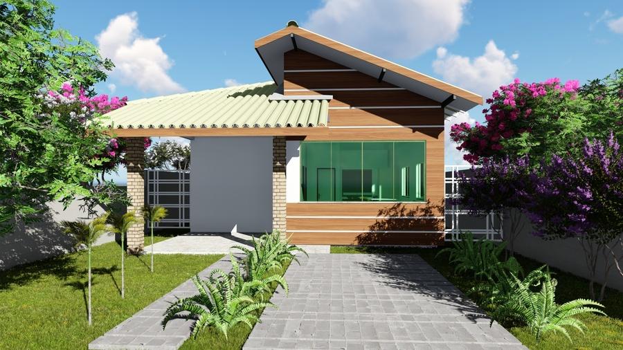 Planta de casa térrea compacta com suite e área gourmet