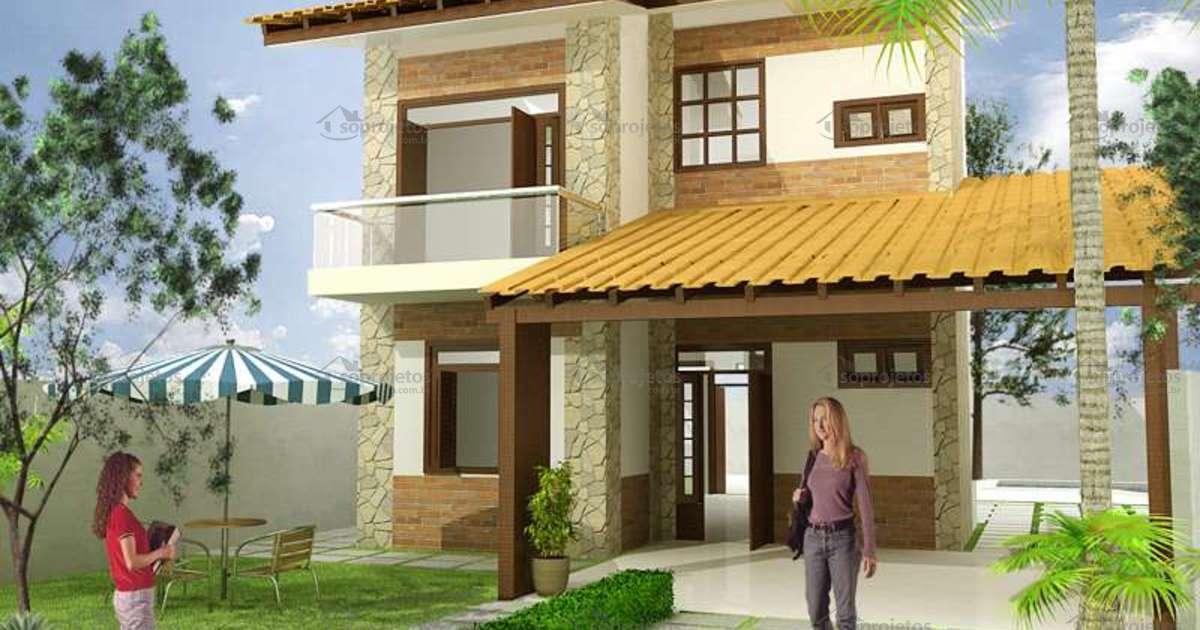 Sobrado com 10 metros de frente c d 78 s projetos for Casas estilo minimalista de dos plantas