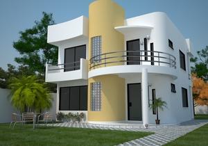 Sobrado moderno com 3 quartos e varanda