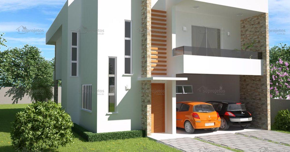 Sobrado 3 quartos com varanda gourmet c d 98 s projetos for Fachadas de casas 1 planta